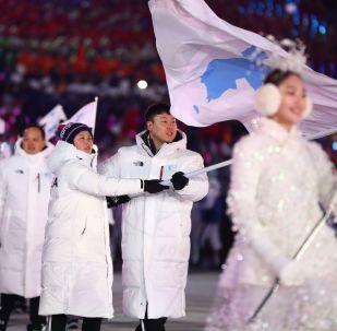 平昌冬奧會閉幕式上的運動員入場式結束