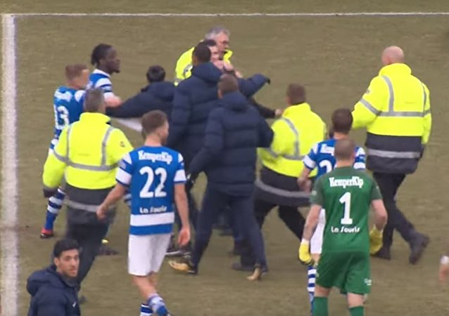 荷兰球迷与球员日前在比赛期间打架。