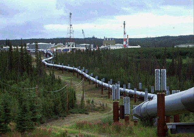 The Trans-Alaska pipeline and pump station north of Fairbanks, Alaska