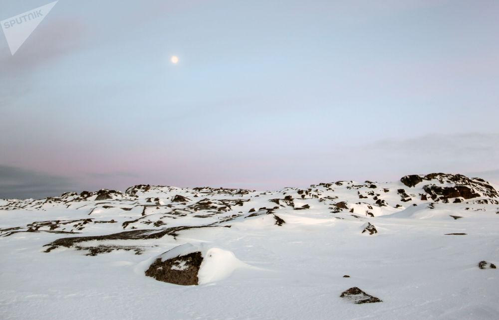 科拉半島捷里別爾斯卡婭灣的石質海岸