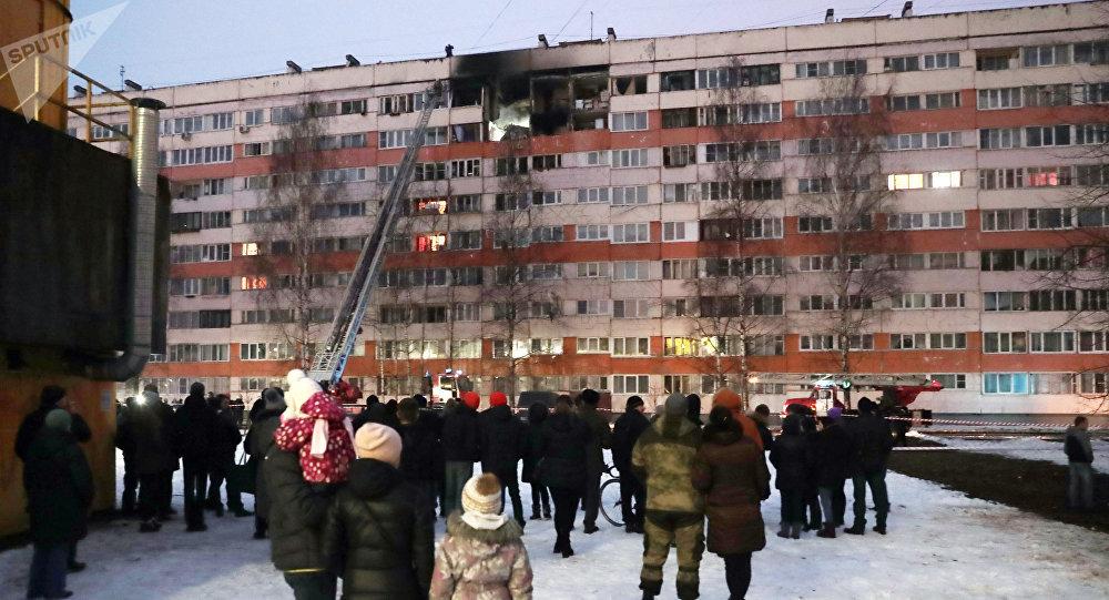 在圣彼得堡的民宅发生爆炸