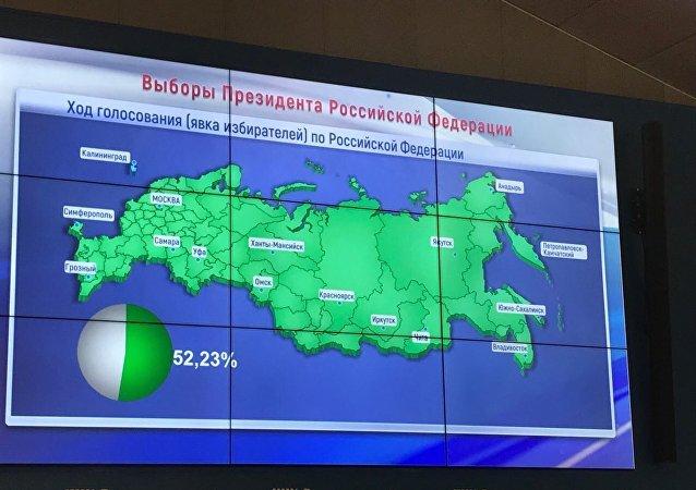 Карта с показателями явки на выборах в ЦИК