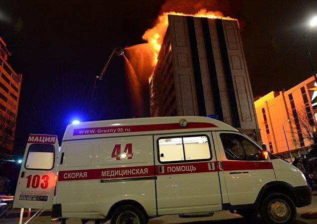 俄车臣首府高楼着火疏散200多人