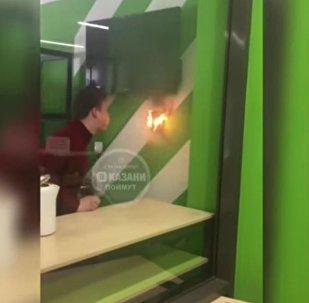 在喀山一名大学生将火扑灭