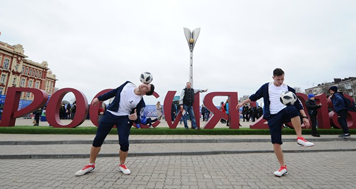 足球运动员在2018世界杯公园开幕式上