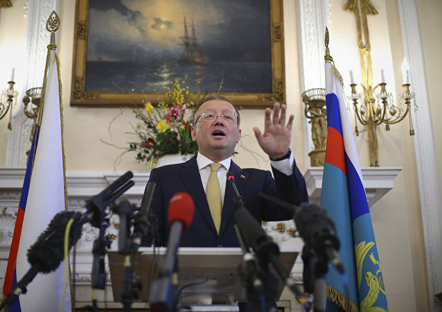 Russian ambassador to the UK Alexander Yakovenko speaks about the recent Salisbury poisoning incident, during a news conference at the Russian Embassy in London