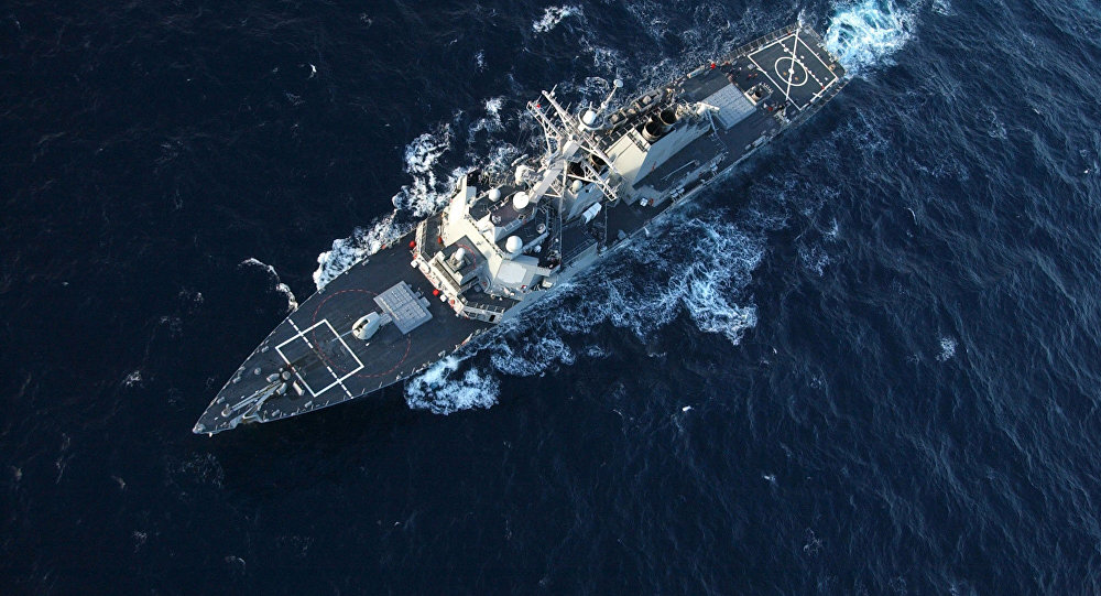 The guided missile destroyer USS Donald Cook