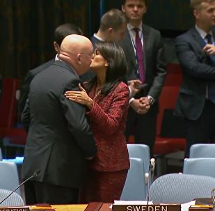 俄美常驻联合国代表会前友好拥抱
