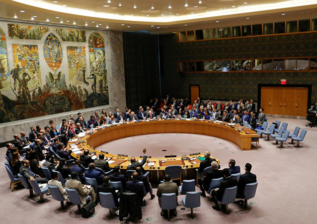 Members of the United Nations Security Council vote against a Russian resolution condemning 'aggression' against Syria by the U.S. and its allies