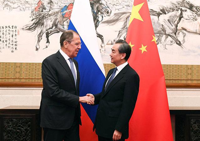 中国国务委员兼外交部长王毅和俄罗斯外长拉夫罗夫