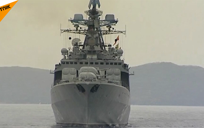 太平洋舰队在日本海进行联合炮击演习