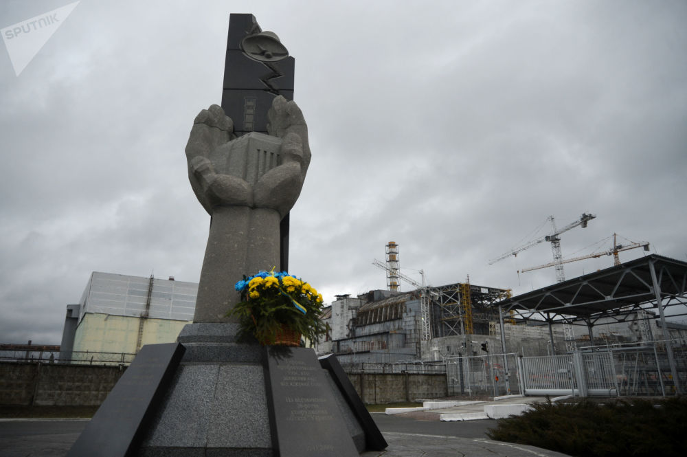 在切尔诺贝利核电站的事故清理人员纪念碑
