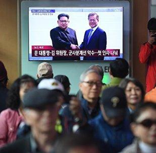 朝鮮最高領導人金正恩抵達板門店