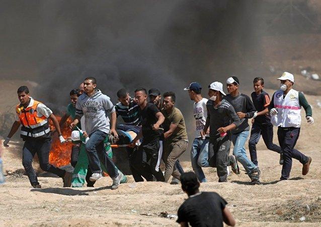 加沙边境巴以军民冲突造成18名巴勒斯坦人死亡 逾900人受伤