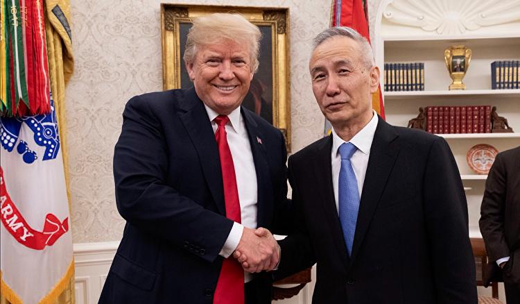 美国总统唐纳德·特朗普会见中国国务院副总理刘鹤