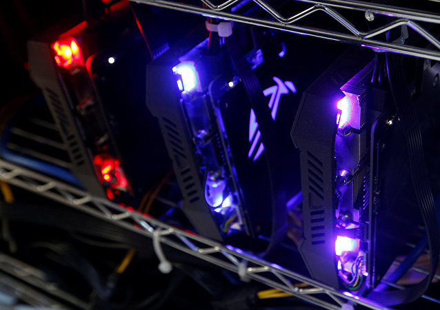 High-end graphic cards are installed in a cryptocurrency mining computer at a computer mall in Hong Kong