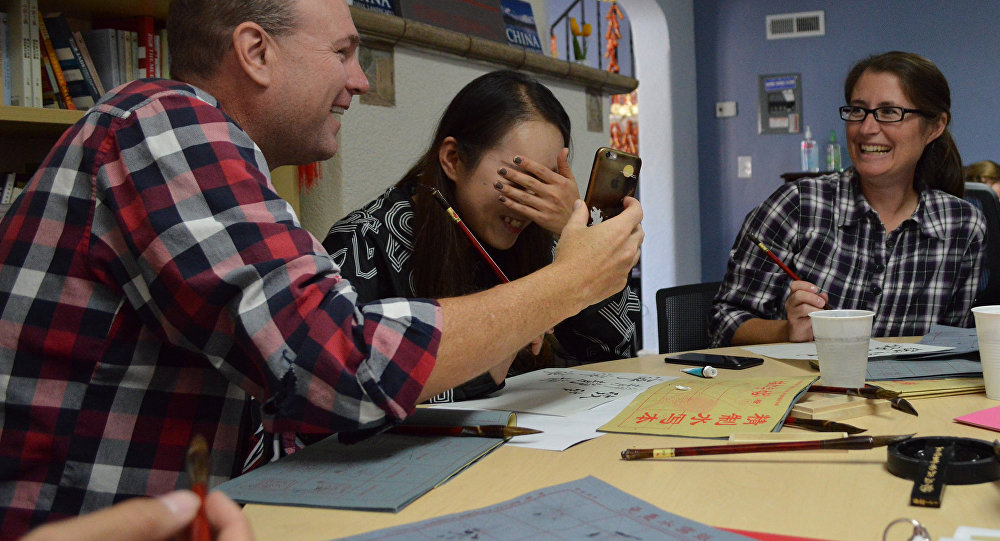Chinese calligraphy taught by members of the Confucius Institute
