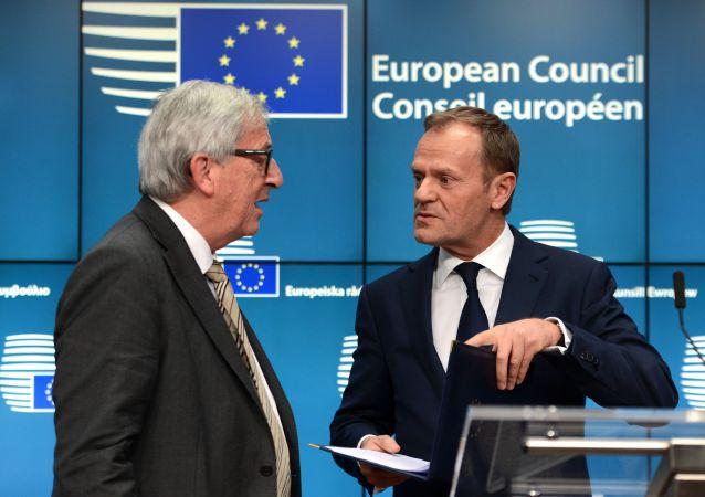 歐盟委員會主席容克與歐洲理事會主席圖斯克