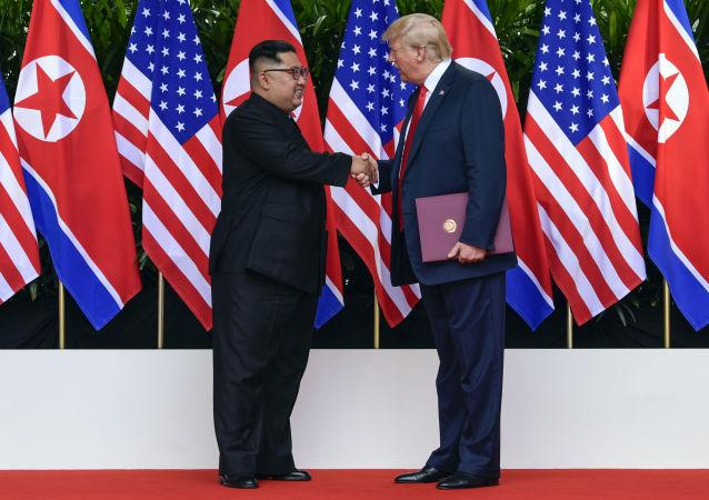 美国总统特朗普与朝鲜最高领导人金正恩于6月12日在新加坡
