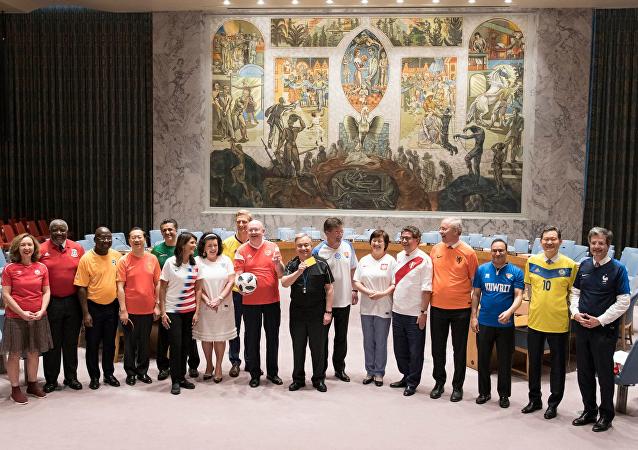 政治靠边站:各国常驻联合国代表穿国家队球衣合影