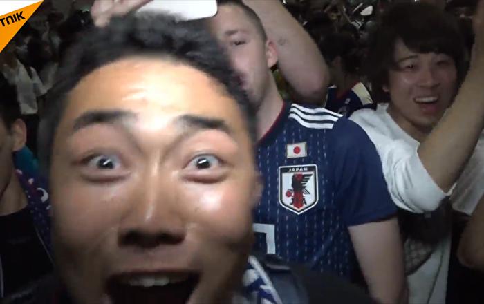 日本球迷狂歡慶祝自己球隊的勝利