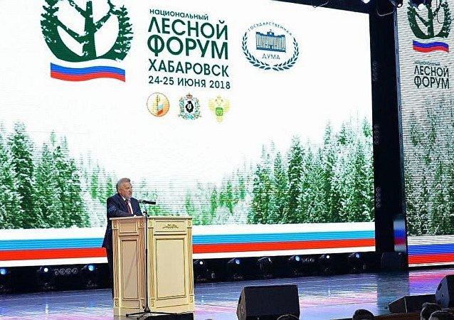 哈巴罗夫斯克边疆区行政长官维亚切斯拉夫•什波尔特出席俄罗斯国家林业论坛第三阶段开幕式