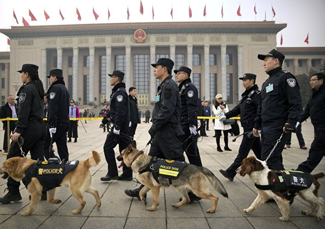 Police dogs and their handlers walk past the Great Hall of the People
