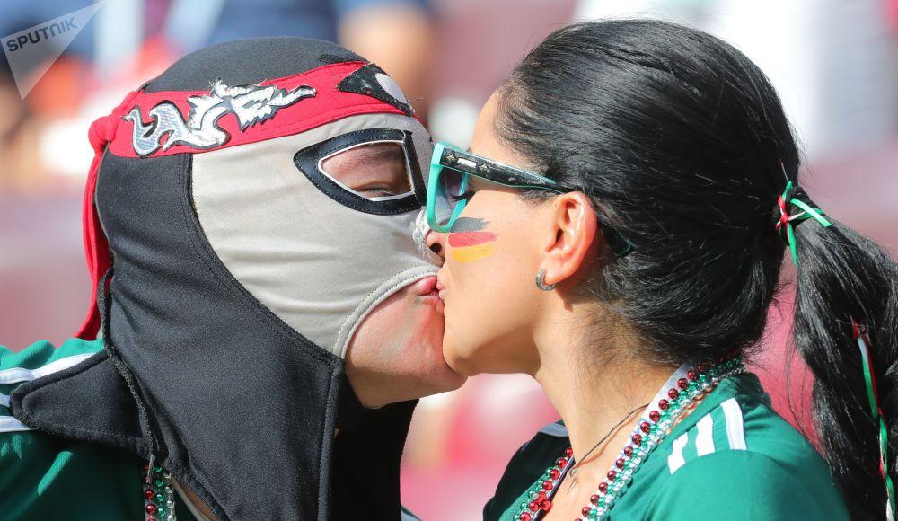 在德国和墨西哥的小组赛开始前的墨西哥球迷。