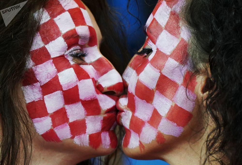 在冰岛和克罗地亚进行的小组赛上的克罗地亚球迷。
