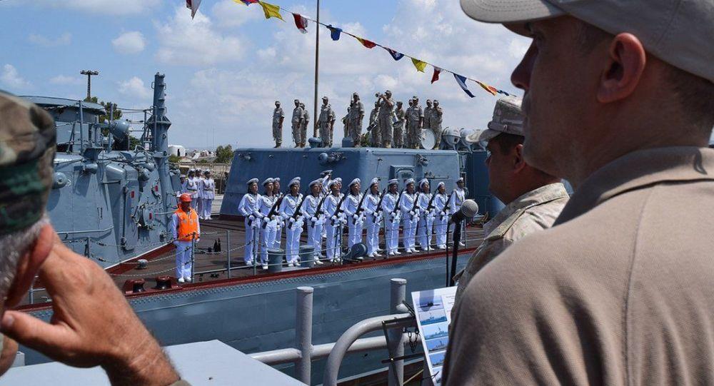 叙利亚塔尔图斯港纪念俄罗斯海军节举行舰船阅兵式