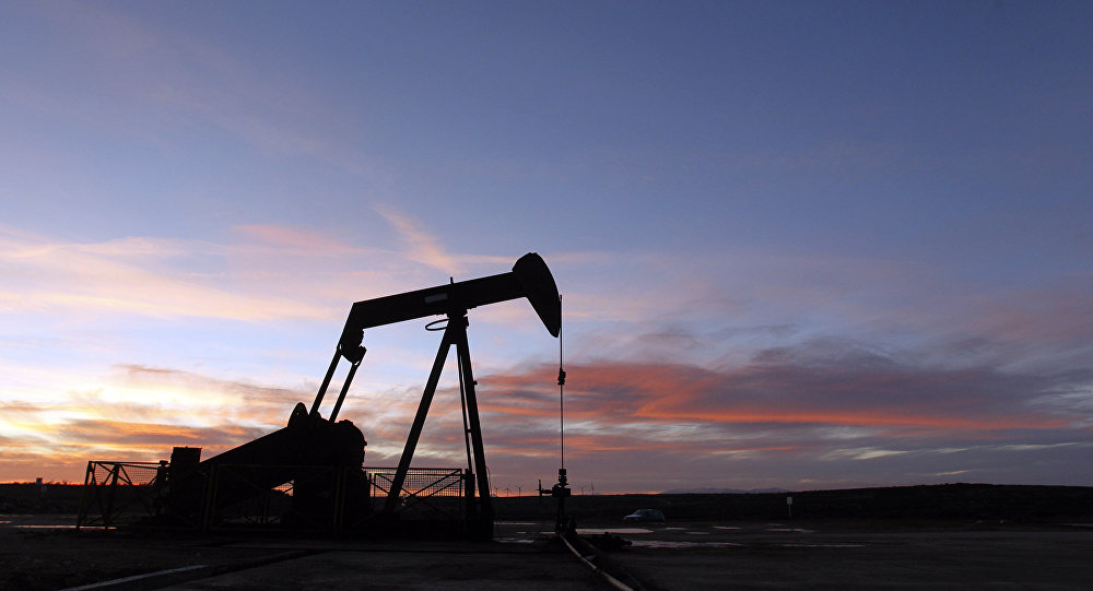 An oil pump is pictured at an oilfield