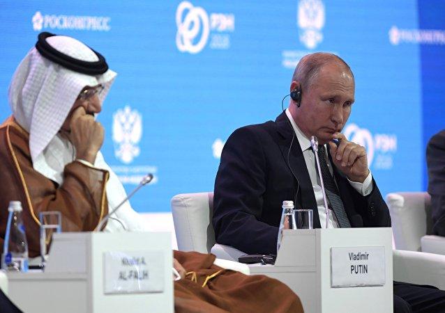 普京在俄罗斯能源周国际论坛全体会议上