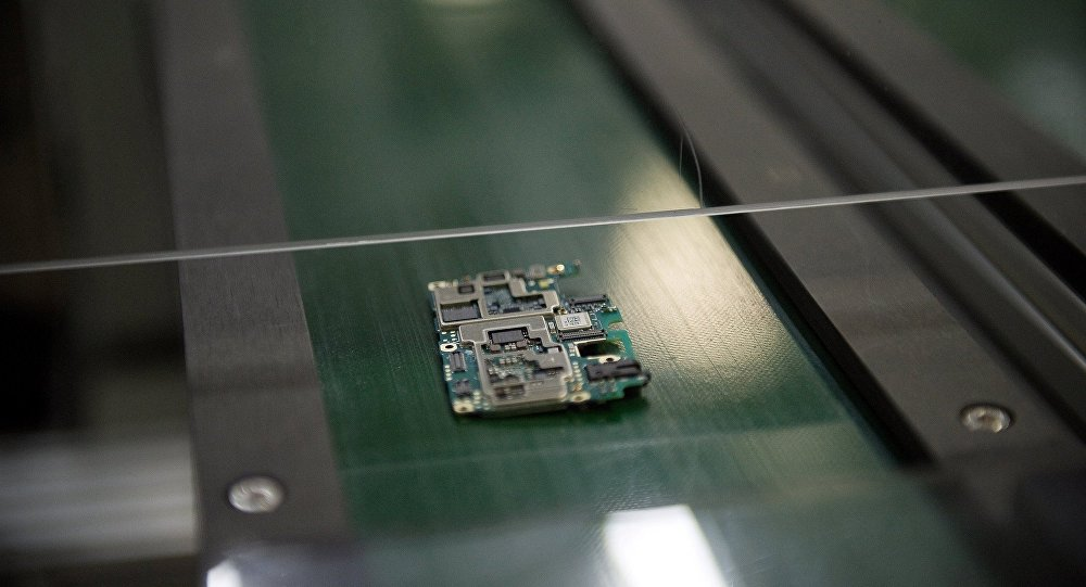 A smartphone chip component circuit is seen