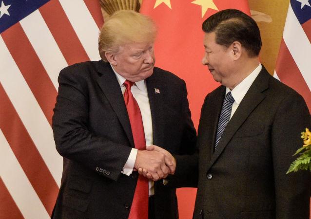 美国总统特朗普(左)和中国国家主席习近平