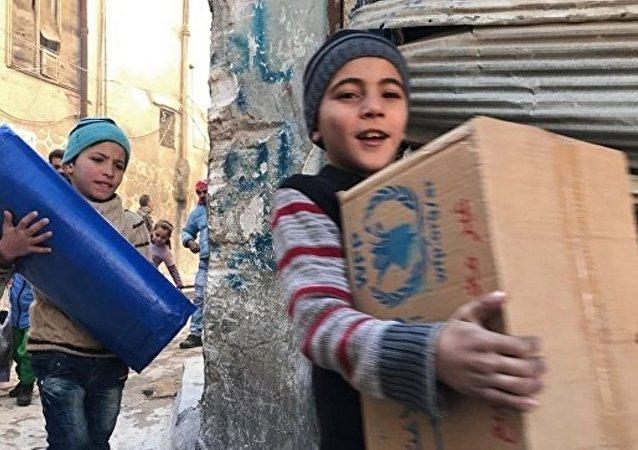 阿勒颇每所孤儿院都会收到来自俄罗斯的新年礼物