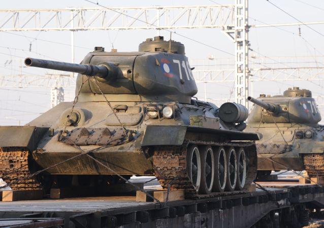 老挝向俄移交的30辆T-34坦克已运抵克拉斯诺亚尔斯克