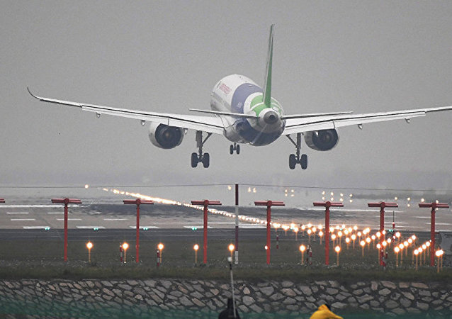 Chinese C919 passenger jet lands on its maiden flight at Pudong International Airport in Shanghai