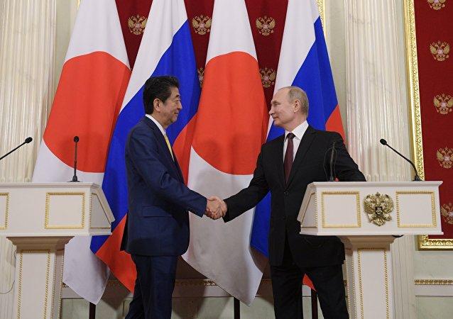 俄罗斯总统普京与日本首相安倍晋三
