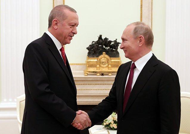 俄罗斯总统普京(右)与土耳其总统埃尔多安
