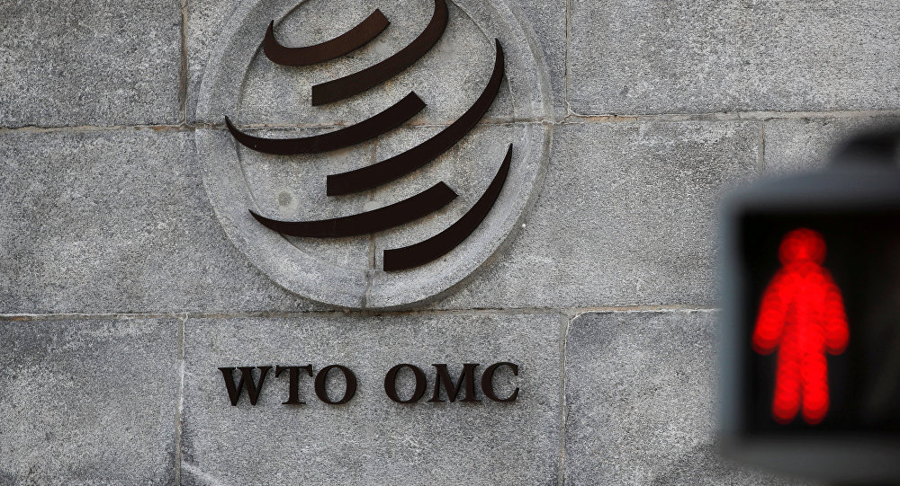 Logo is pictured outside the WTO headquarters in Geneva.