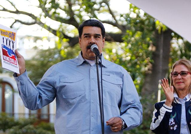 委内瑞拉总统尼古拉斯·马杜罗和他的妻子西莉亚·弗洛雷斯