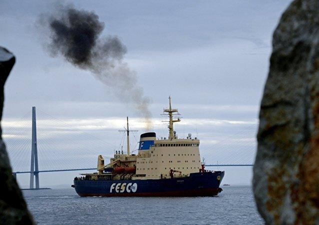 Прибытие ледокола Красин в порт Владивостока