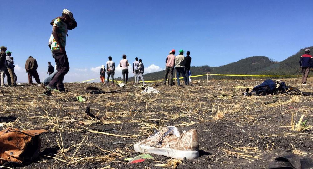 埃塞俄比亚航空公司飞机坠毁现场
