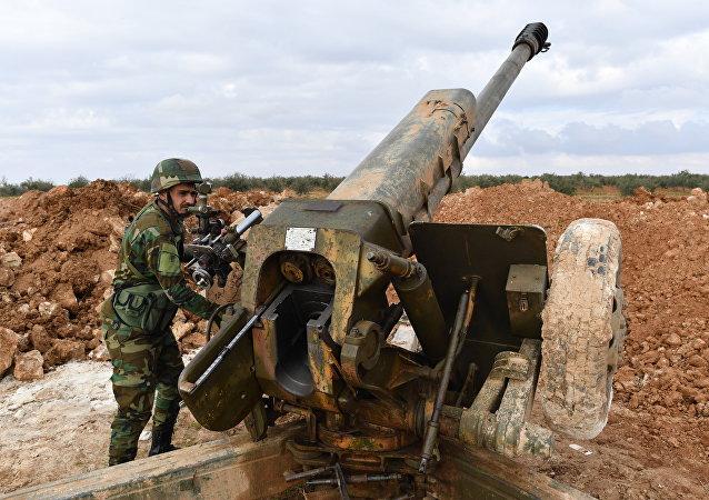 Передовые позиции сирийской армии в районе Алеппо