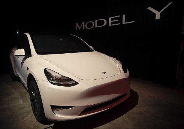 Tesla's Model Y is displayed at Tesla's design studio Thursday, March 14, 2019, in Hawthorne, Calif.