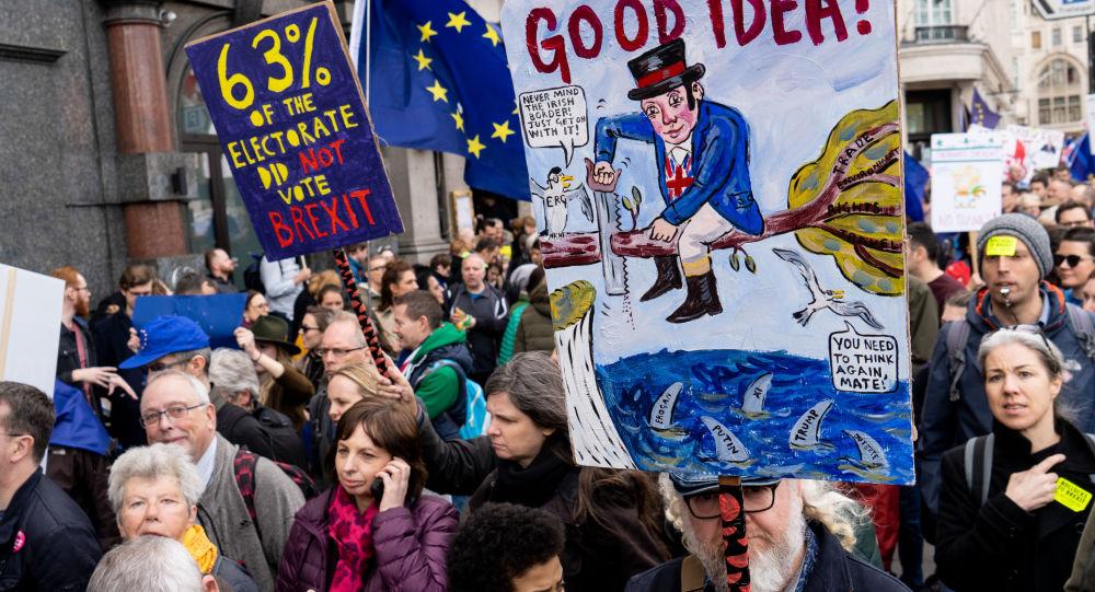 数万人在伦敦游行要求对英脱欧举行二次公投