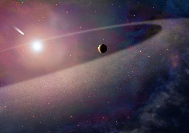 Художественное изображение белого карлика и неизвестной планеты