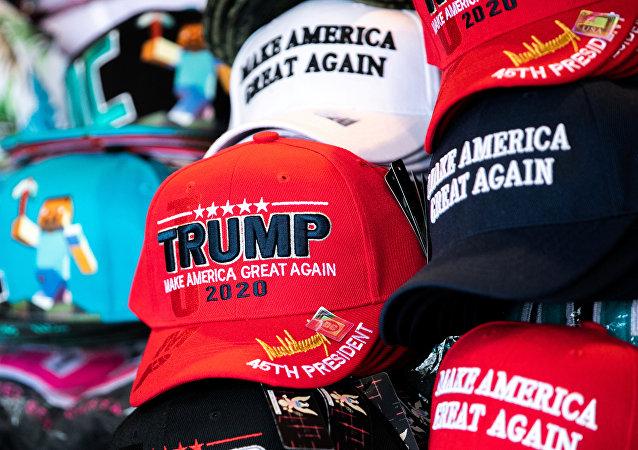 Trump 2020 caps are seen on display at a souvenir vendor in Washington