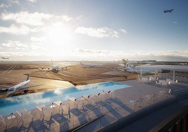 纽约肯尼迪机场新开游泳池