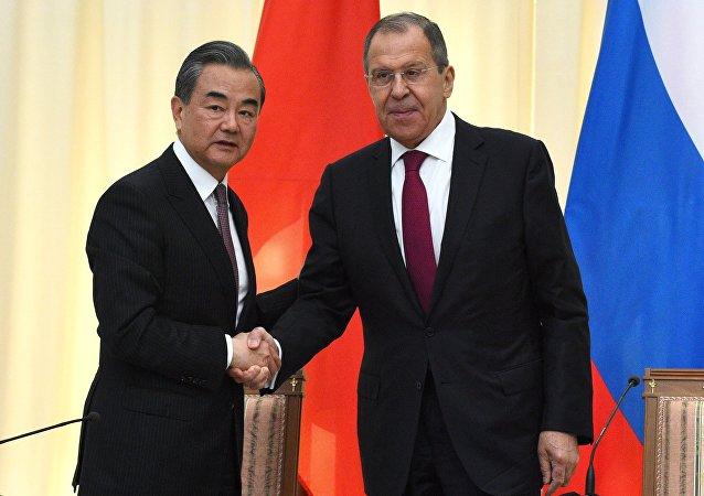 中国外长王毅与俄罗斯外长拉夫罗夫